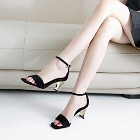 Sandali Lacci Caviglia Casual Moda Tacco Largo Tacco Medio Camoscio Pelle Ufficio Neri