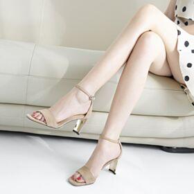 Sandalias Mujer Tacon Medio 6 cm De Gamuza Tacon Ancho Vestido Para Trabajo Nude Modernos