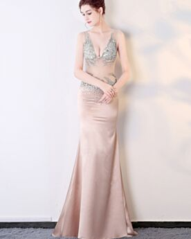 Sheath Satin Backless Sleeveless See Through Evening Dresses Plunge Long