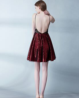 Backless Fit And Flare Appliques Sparkly Short Semi Formal Dress Lace Burgundy Cocktail Dress Sequin