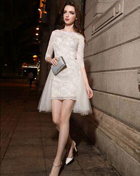 Beautiful Short Sheath Semi Formal Dresses Lace Graduation Dresses Scoop Neck Glitter Half Sleeve White Cocktail Party Dress Sparkly