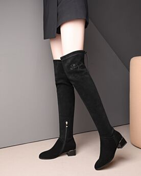 Sock Chunky Heel 4 cm Kitten Heel Suede Black Over The Knee Leather Boots Stretchy Winter