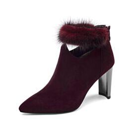 High Heels Suede Gevoerde Enkellaarsjes Klassiek Chelsea Boots