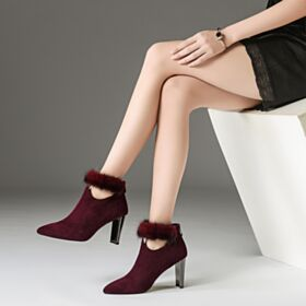 Winter Suede Ankle Boots High Heels Burgundy Classic Chelsea