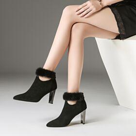 Ankle Boots Mit 8 cm High Heels Plüsch Schwarz Wildleder Spitz Zeh Schuhe Klassisch