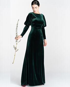 Brautmutterkleider Dunkelgrün Rückenausschnitt Lange Ärmel Schlichte Samt Abendkleider Empire