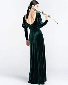 Empire Dark Green Evening Dress Spring Open Back Simple Long Sleeved Velvet