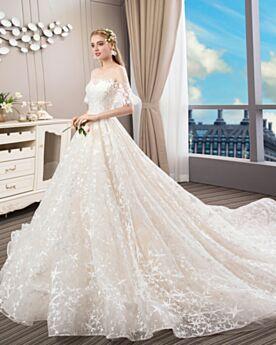 A Linie Weiß Spitzen Bohemian Hochzeitskleider Off Shoulder Tüll Rückenausschnitt Schöne Perlen