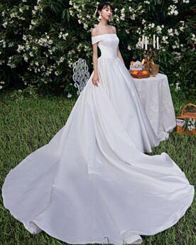 Simple Printemps Élégant Dos Nu Blanche Princesse Robe De Mariée