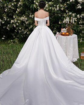 Vestidos De Novia Jardin Hombros Caidos Sencillos Blanco Satin Elegantes Corte A Espalda Descubierta