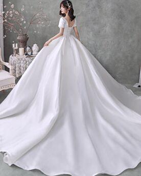 Espalda Descubierta Con Cola Satin Blancos Vestidos De Novia Vintage Elegantes Corte Princesa Strapless