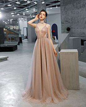 Empire Konfirmationskleid Perlen Tiefer Ausschnitt Spaghettiträger Rosegold Lange Abendkleider Tüll Ärmellos Sexy