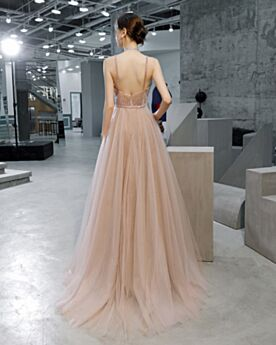 Rose Gold Prom Dress With Train Open Back Long Sweet 16 Dresses Sexy Plunge Formal Evening Dress Sleeveless