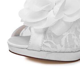 Elegantes Zapatos Novia Stilettos De Encaje Blancos Tacones Altos 10 cm Sandalias Mujer