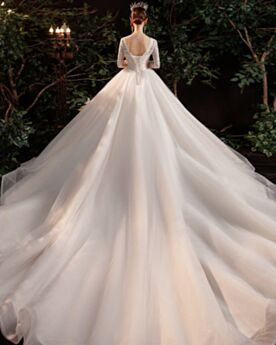 Elegant Luxury Sequin Tulle Bridal Gown Ivory Long Sleeved Princess