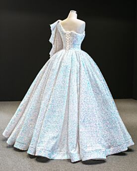 Prom Dress Quinceanera Dresses White Backless Long Ball Gowns Sparkly Luxury One Shoulder Sweet 16 Dresses Long Sleeve Sequin