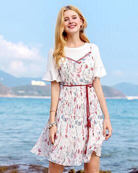 Bohemian Blumenkleid Trägerkleid Casual Kleid Zweiteiler Kleid Weiß Kurzarm Swing Zweiteiler Chiffon