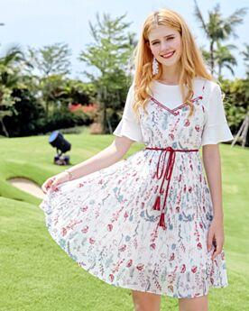 Bohemian Bloemenprint Midi Casual Jurk Slipdress 2018 Witte Korte Mouw Chiffon Outfits Top en Rok Swing