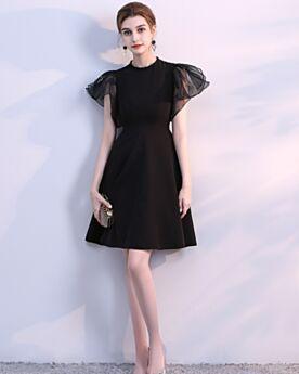 Organza Little Black Dress Estivi Nere Corti Balze Maniche Corte Vestiti Da Cerimonia