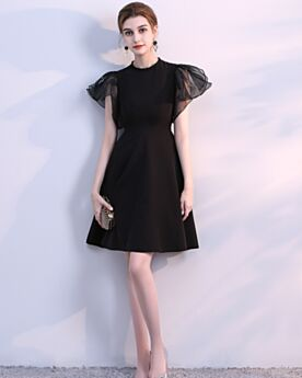 Simple Cocktail Dress For Junior Short Little Black Dress With Sleeves Chiffon Semi Formal Dress
