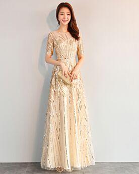 Oro Vestito Da Sera Paillettes Luccicante Vestiti Cerimonia Con Cintura Lungo