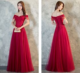 Plunge Formal Evening Dress A Line Lace Off The Shoulder Prom Dresses Maxi Beaded Tulle Open Back