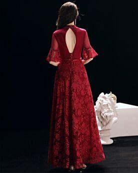 2018 A Line Beaded Formal Dresses Backless Prom Dress Lace Half Sleeve Long Burgundy High Neck Elegant
