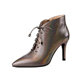 Veter 8 cm Enkellaarsjes Leren Winter Stiletto Zakelijke Herfst Lak Runtige Neus Hoge Hakken Sparkle Laarzen Dames
