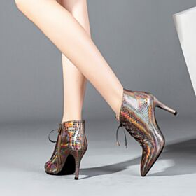 Ankle Boots High Heel Stiletto Heels 2018 Patent Office Shoes 3 inch Sparkly Boots