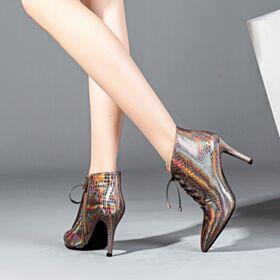 Cuir Brillante Cuivre Talon Haut Bottes Femme Talon Aiguille Lacets 8 cm Bottines Chaussures Travail