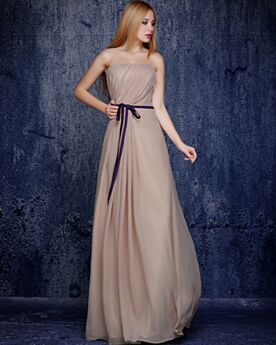 Backless Chiffon Evening Dresses Strapless Beige Long Bridesmaid Dress