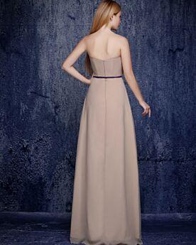Empire Lange Trauzeugin Kleid Abendkleid Ärmellos Partykleider Bandeau Elegante Schulterfreies Schlichte Rückenausschnitt