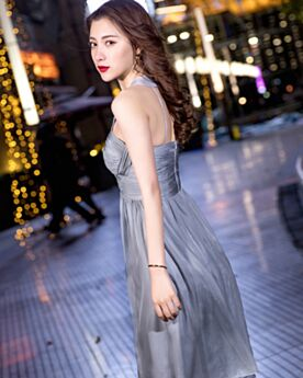 Backless Flounce Simple Cocktail Party Dress Short Homecoming Dress Gray Halter Sleeveless