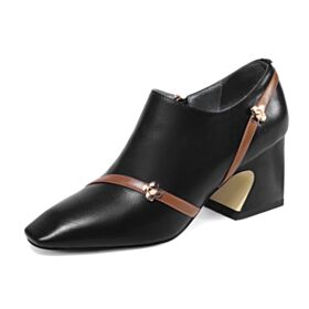 Metal Button Mid Heels Office Shoes Leather Black Womens Shoes Shoes For Women