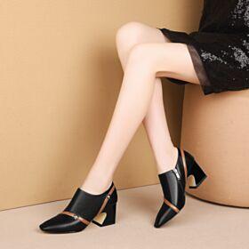 Noir Cuir Chaussures De Travail Talon Carrés Chaussure Femme 6 cm Talon Mid