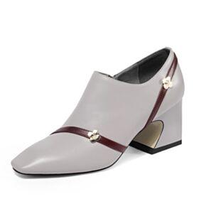 6 cm Talon Mid Chaussures De Travail Chaussure Bout Carré Cuir