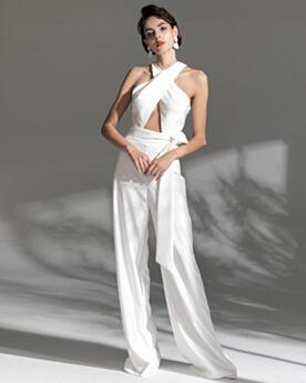 Abendkleider Rückenfreies Jumpsuit Chiffon Sexy Lange Neckholder Weiß