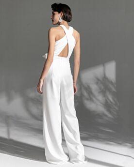 Evening Dress White Long Chiffon Sexy Sleeveless Halter Jumpsuits