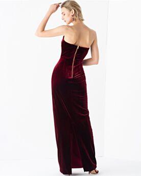 Abendkleider Lange Rückenfreies Samt Brautjungfernkleid Tragerloses Schlichte Kleider Für Festliche Vintage