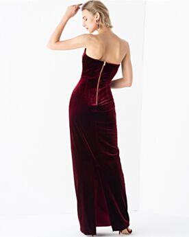 Empire Simple Bridesmaid Dress For Wedding Party Burgundy Velvet Long Strapless Open Back Evening Dress Vintage