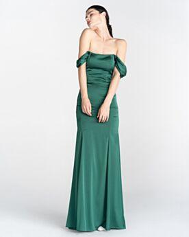 Lungo Senza Spalline In Raso Verde Smeraldo Spalle Scoperta Maniche Corte Abiti Da Sera Da Cerimonia Eleganti 2020