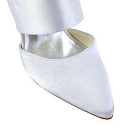 A Punta 8 cm Tacco Alto Scarpe Da Sposa Slingback Sandali Donna Bianco Eleganti 2020 Raso