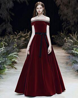 Samt Lange Kleider Hochzeitsgäste Off Shoulder Trauzeugin Kleid Abendkleid Kurzarm