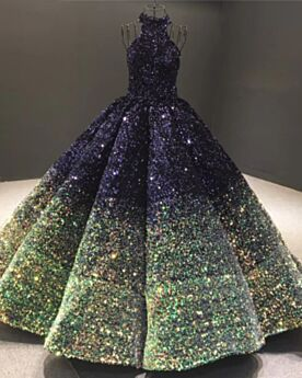 Ombre Sweet 16 Dresses Gorgeous Sparkly Sequin Open Back Sleeveless Ball Gown Navy Blue Halter Quinceanera Dresses Prom Dresses