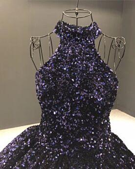 ロング ボール ガウン 成人式ドレス グラデーション カラードレス 二次会 ドレス ネイビー ゴージャス スパンコール プロムドレス ホルター バックレス 7721220791