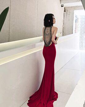 Mermaid Halter Red Charmeuse Sexy Formal Evening Dresses Sleeveless