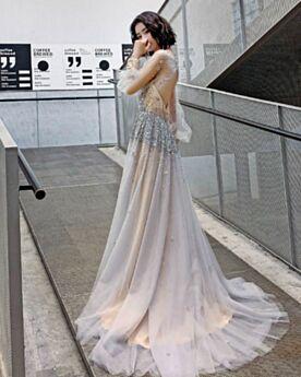 Aライン キャバ ドレス 成人式ドレス オープンバック フォーマル イブニングドレス スパンコール ビーズ ロング チュール シースルー シルバー 長袖 キラキラ 7721270889