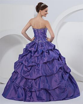 Ball Gowns Open Back Strapless Quinceanera Dress Vintage Prom Dresses Purple Sleeveless Embroidered