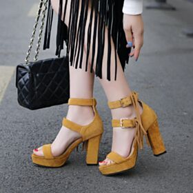 3 inch High Heel Camel Block Heel Going Out Shoes Bohemian Sandals For Women 2018 Heeled Leather Ankle Strap