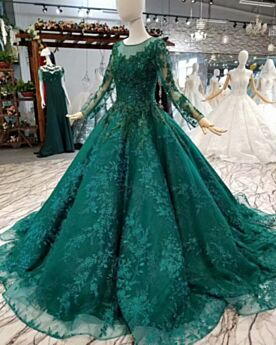 Scoop Neck With Train Ball Gown Long See Through Lace Charming Dark Green Prom Dresses